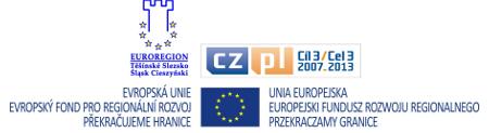 Grafika przedstawiająca logo Unii Europejskiej, Euroregionu Śląsk Cieszyński oraz Europejskiego Funduszu Rozwoju Regionalnego Przekraczamy Granice